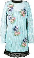 House of Holland floral embroidered mesh dress - women - Cotton/Polyester - 14