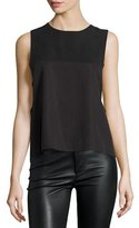 KENDALL + KYLIE Sleeveless Lace-Back Grommet Top, Black