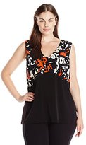 Calvin Klein Women's Plus Size Print Blocked V-Neck