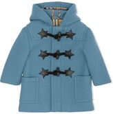Burberry Faux Leather Star Detail Wool Blend Duffle Coat