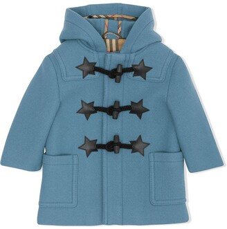BURBERRY KIDS Faux Leather Star Detail Wool Blend Duffle Coat