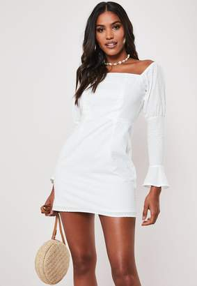 Missguided Petite White Dobby Spot Milkmaid Mini Dress