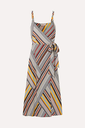 Tory Burch Striped Jersey Wrap Dress - Gray