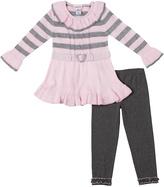 Little Lass Pink Stripe Ruffle Sweater & Leggings - Toddler
