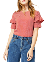 Warehouse Stripe Frill Sleeve T-Shirt, Red