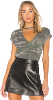 Pam & Gela Open Chest Tee in Green. - size L (also in S)