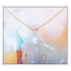 Unwritten 2-Pc. Set Cubic Zirconia Mini Cross Pendant Necklace & Stud Earrings in Gold-Tone Fine Plated Silver, Created for Macy's