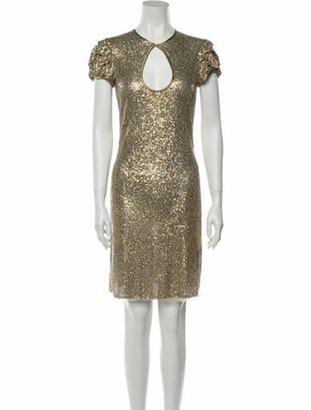 Naeem Khan V-Neck Mini Dress Gold