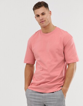 Jack and Jones Originals drop shoulder t-shirt in pink