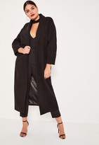 Missguided Plus Size Black Shawl Collar Faux Wool Maxi Coat