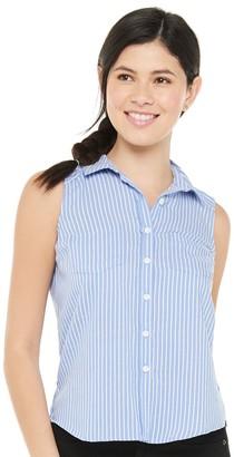 So Juniors' Sleeveless Button Down Shirt