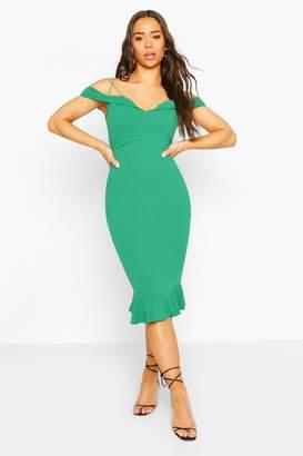 boohoo Off Shoulder Frill Hem Midi Dress