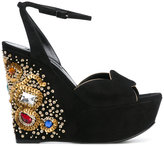 Casadei sequin embellished wedge sandals - women - Chamois Leather/Leather/Nappa Leather - 35