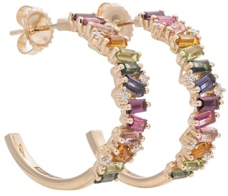 Suzanne Kalan Frenesia Rainbow 14kt white gold hoop earrings with topaz and diamonds