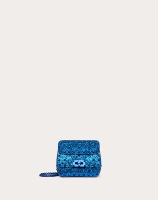 Valentino Micro Rockstud Spike Glitter Fabric Bag Women Electric Blue Polyurethane 50%, Polyester 42%, Cotton 8% OneSize