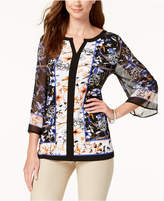 JM Collection Embellished Split-Neck Top, Created for Macy's