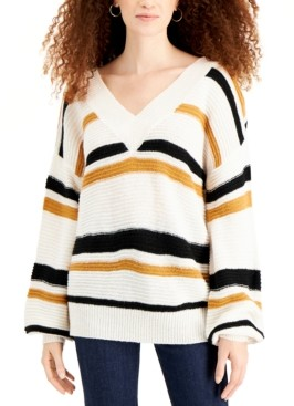 Derek Heart Juniors' Striped V-Neck Balloon-Sleeve Sweater