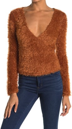 Lush Fuzzy Knit Surplice Crop Sweater