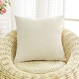 MochoHome Corduroy Solid Square Throw Pillow Cover