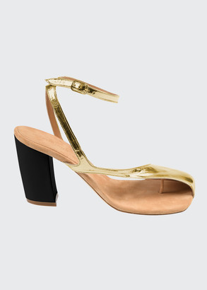 Dries Van Noten Donna Metallic Asymmetrical Block-Heel Sandals