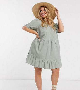 ASOS DESIGN Curve cotton tiered mini smock dress in khaki
