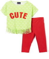 Sweet & Soft Red & Lime 'Cute' Fringe Tee & Leggings - Infant & Toddler