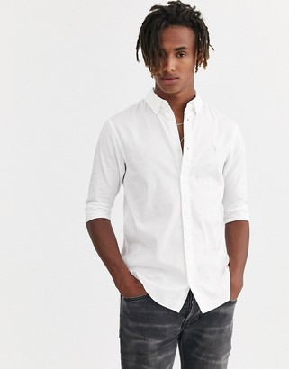 AllSaints Redondo half sleeve shirt with ramskull in white