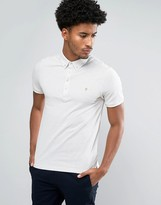 Farah Merriweather Short Sleeve Marl Polo Shirt in Chalk