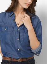 Michael Kors Tri-Tone Logo Pendant Necklace