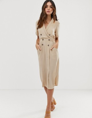 ASOS DESIGN tux midi dress in camel