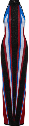 Balmain Color-block Metallic Stretch-knit Halterneck Maxi Dress