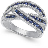 Effy Royale Bleu by Sapphire (1 ct. t.w.) and Diamond (3/8 ct. t.w.) Ring in 14k White Gold