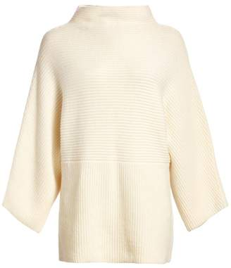 St. John Funnel Neck Ribbed Cashmere Sweater