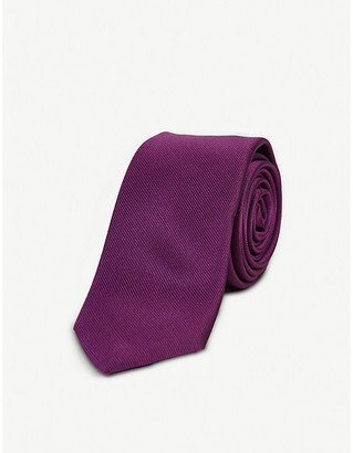 HUGO BOSS Geometric-print silk-blend tie