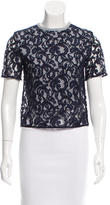 Carven Gingham Lace-Overlay Top