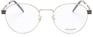 Saint Laurent Logo-engraved Round Metal And Acetate Glasses - Clear