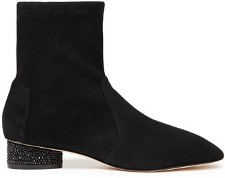 Stuart Weitzman Flash Crystal-embellished Stretch-suede Ankle Boots