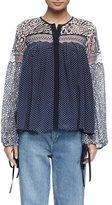 Chloé Long-Sleeve Lace Mixed-Print Blouse, Navy