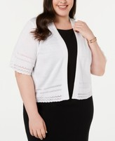Thumbnail for your product : Robbie Bee Plus Size Pointelle-Knit Cardigan