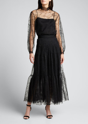 Akris Punto Embroidered Floral Tulle Puff-Sleeve Blouse