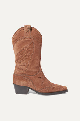 Ganni High Texas Embroidered Suede Boots - Brown