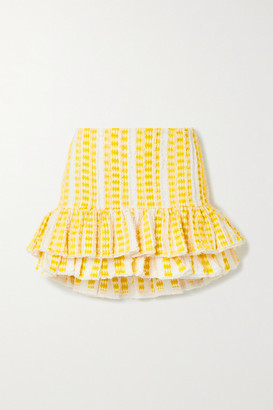 RUE MARISCAL Frayed Ruffled Embroidered Cotton-gauze Mini Skirt - Yellow