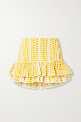 RUE MARISCAL Net Sustain Frayed Ruffled Embroidered Cotton-gauze Mini Skirt - Yellow