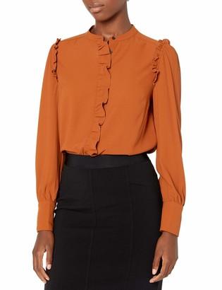 Lark & Ro Amazon Brand Women's Crepe de Chine Long Sleeve Collar Button Front Blouse