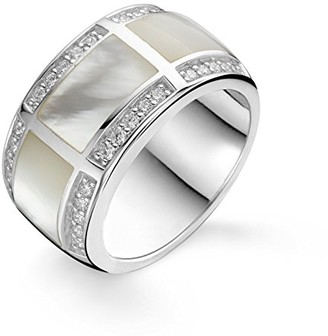 Ti Sento Milano Rhodium Plated Sterling Silver Ring with Cubic Zirconia and Mother of Pearl Stones-1346MW/56 - Size O