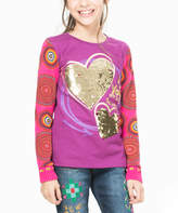 Desigual Purple & Gold Two-Tone Sequin Heart Long-Sleeve Tee - Toddler & Girls