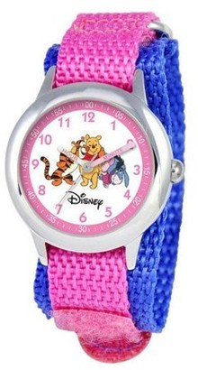 Disney Pooh and Friends Girls'Stainless Steel Time Teacher Watch, Pink Nylon Strap
