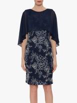Gina Bacconi Effie Overcape Floral Dress, Spring Navy