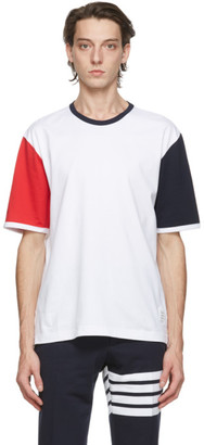 Thom Browne White Contrast Sleeve Ringer T-Shirt