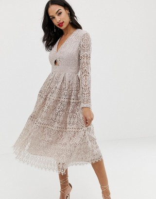Asos Design DESIGN lace long sleeve prom midi dress with cut out-Pink